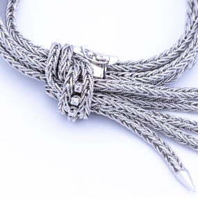 Bracelet ceinture en or gris et 5 diamants