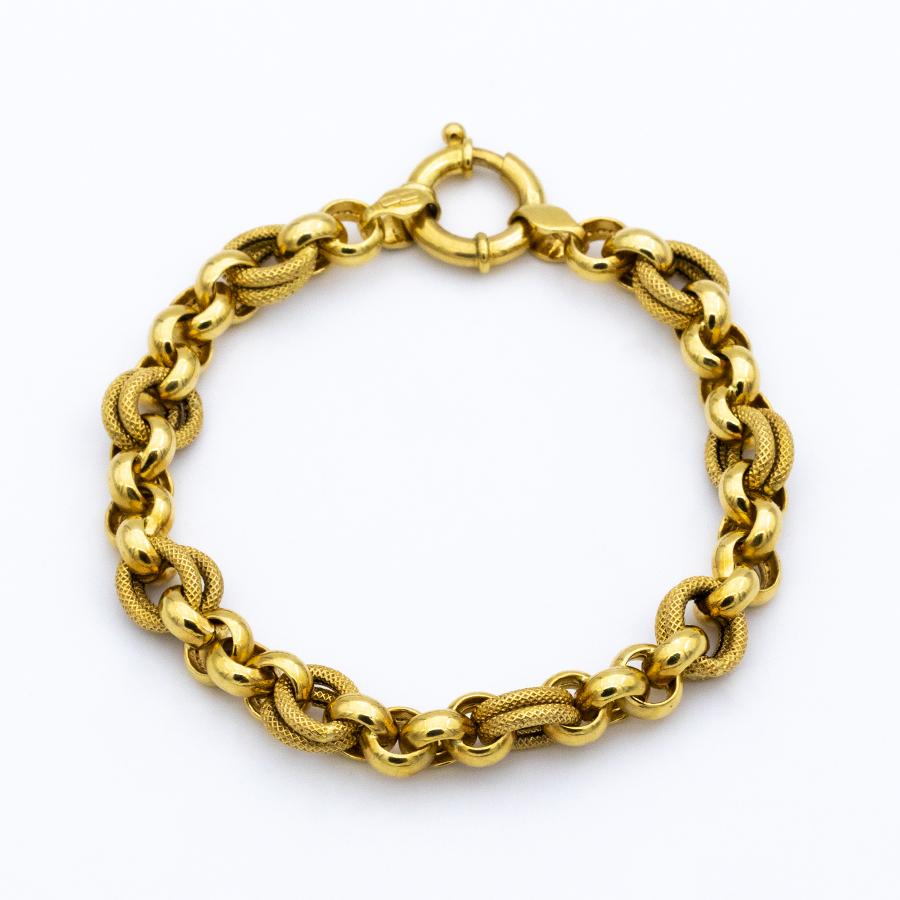 Bracelet gourmette mailles rondes en or jaune