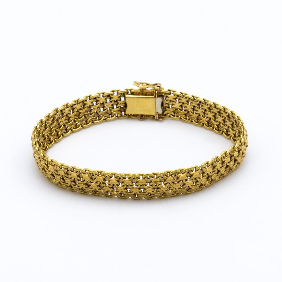 Bracelet mailles plates en or jaune