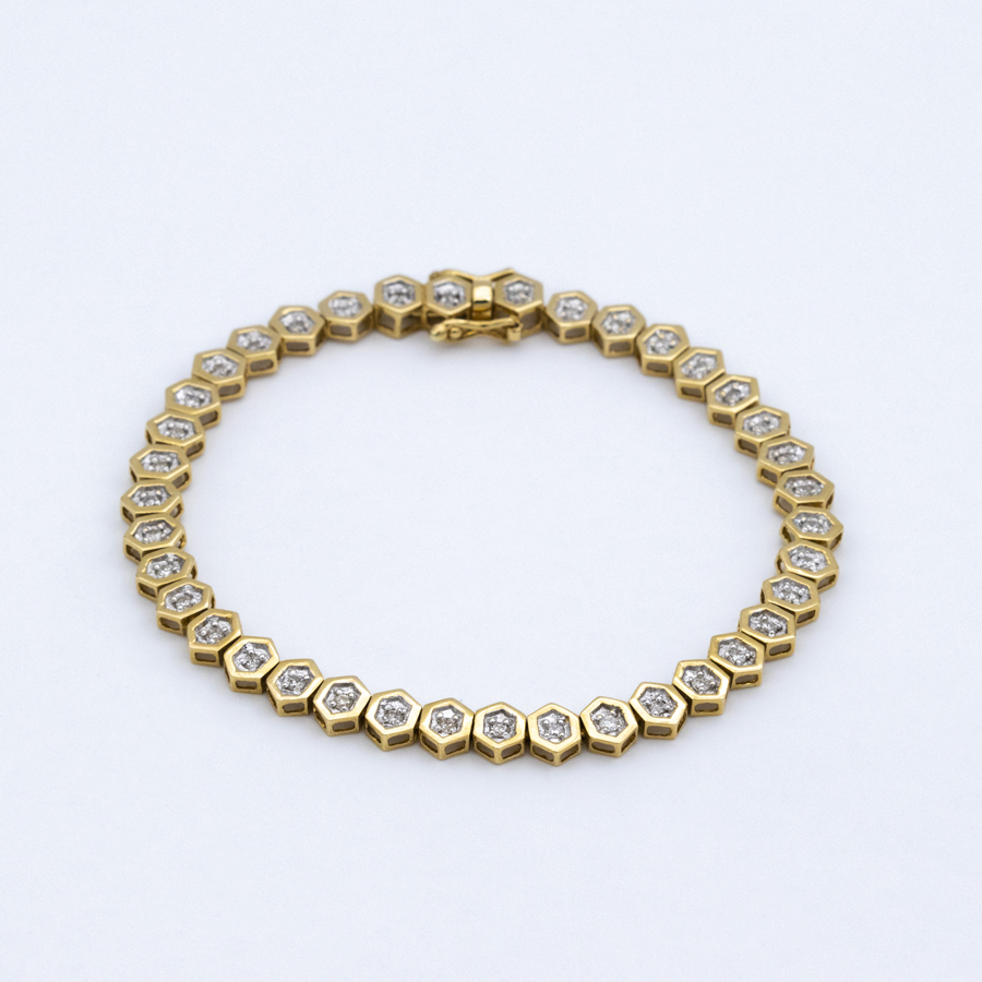 Bracelet ligne en or jaune et 38 diamants