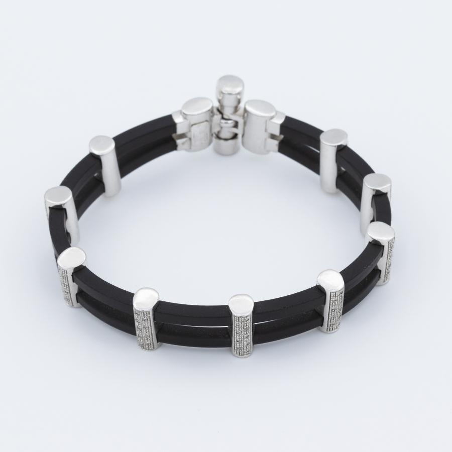 Bracelet en or gris caoutchouc et diamants