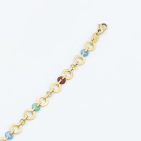 Ensemble bracelet et collier OJ Perrin en or jaune et agates