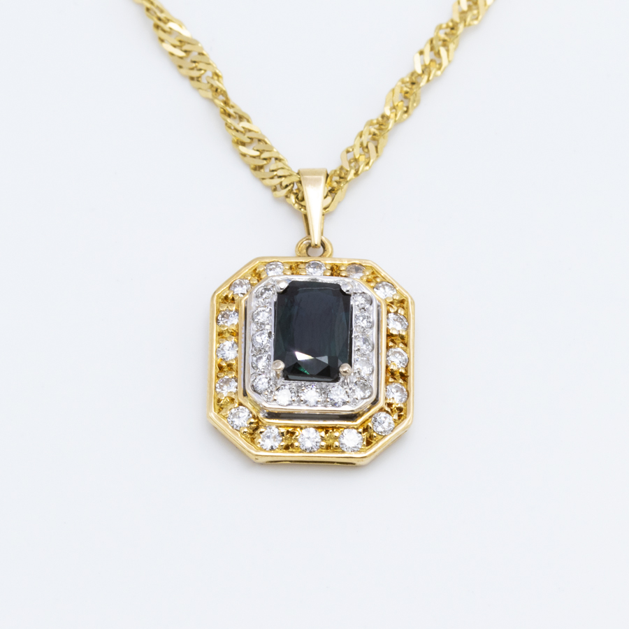Pendentif 2 ors, saphir et diamants