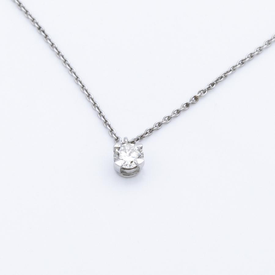 Collier en or gris et pendentif goutte diamant 4 griffes