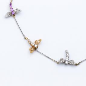 Collier libellules 14 saphirs et 69 diamants