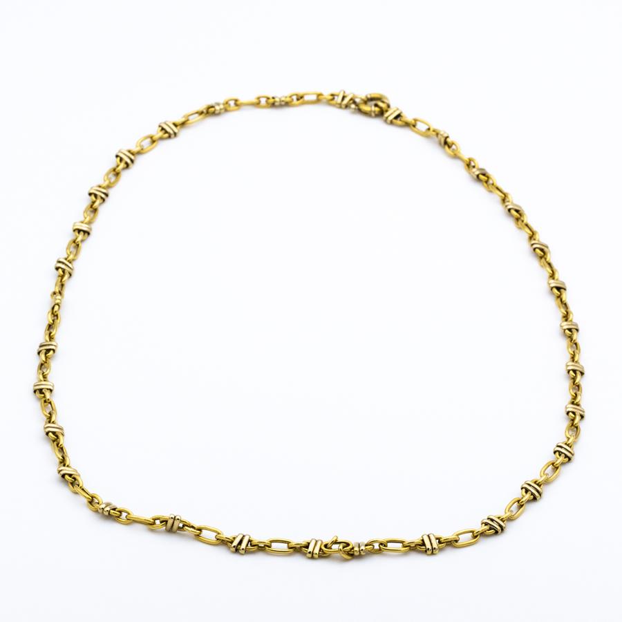 Collier sautoir forçat fantaisie en or jaune