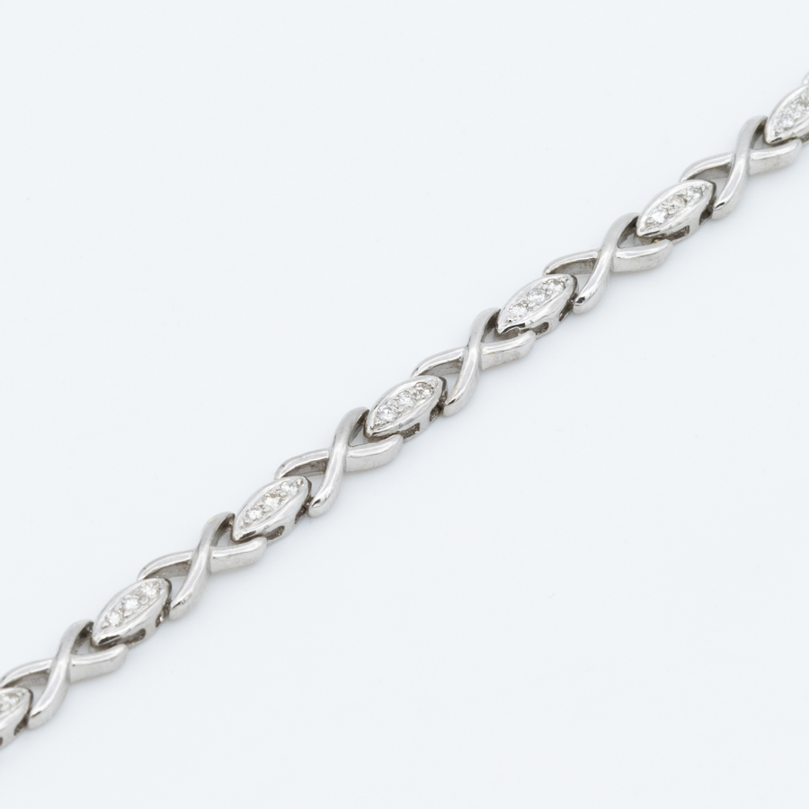 Collier mailles ovoïdes en or gris et diamants